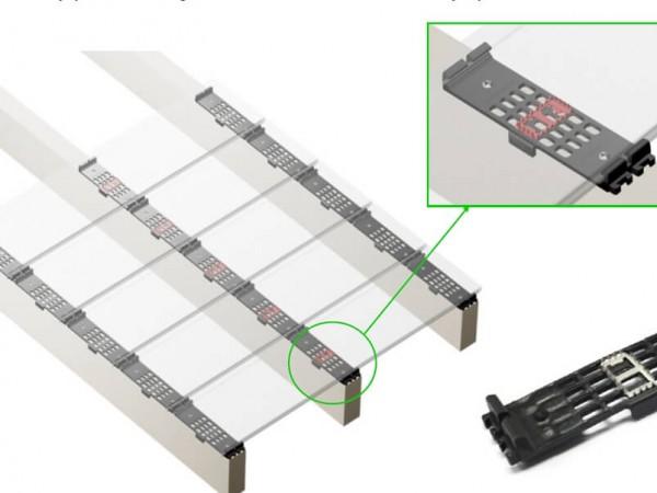Deski kompozytowe Deck A Floor wzór klipsów mocujących
